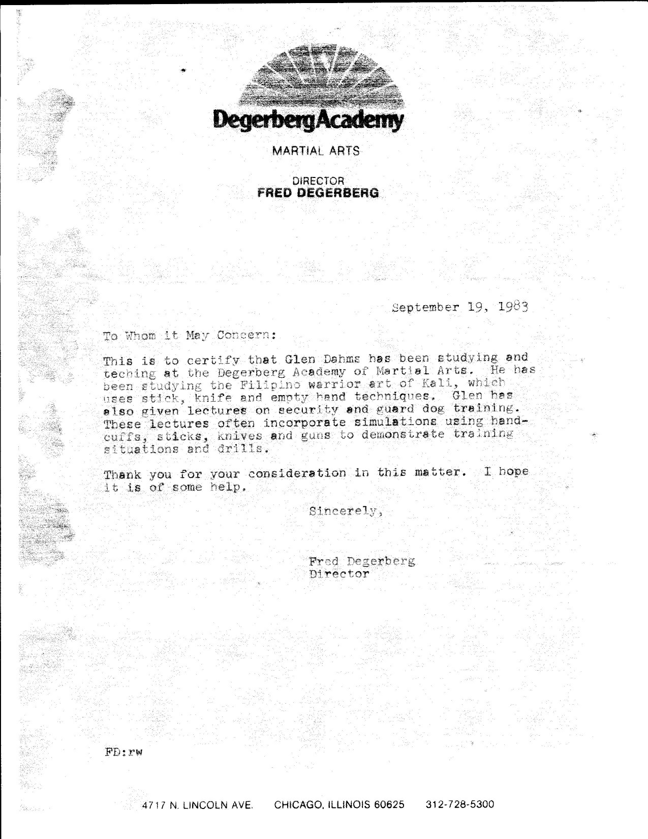 letter from owner head instructor degerbergs academy of martial arts